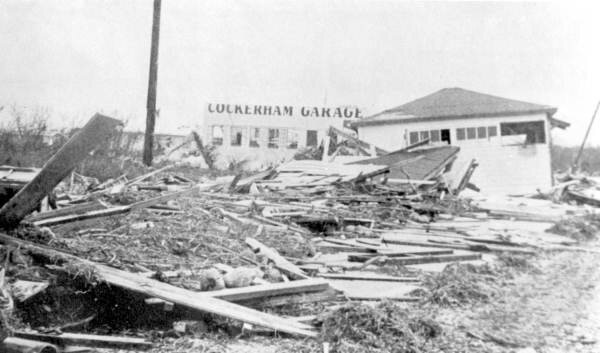 Cockerham Garage after 1960 Hurricane Donna