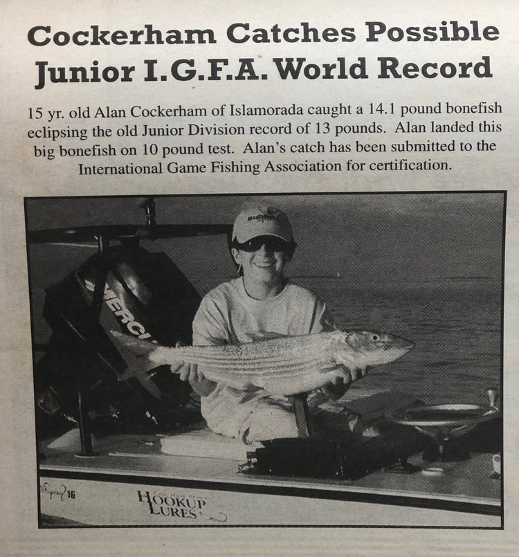 Alan Cockerham with 14.1 pound bonefish record
