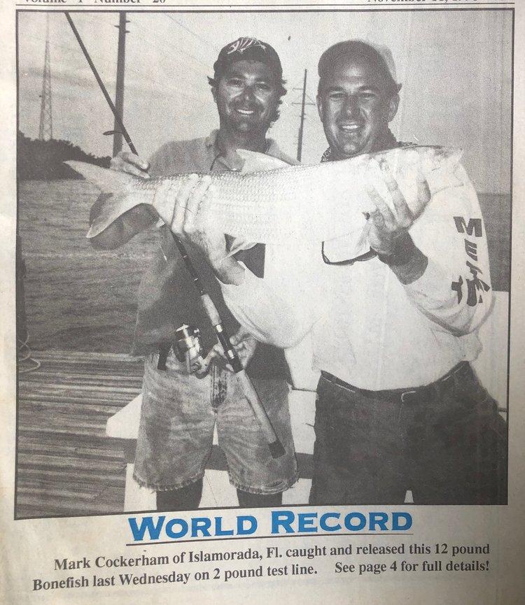 12 pound World Record bonefish Mark Cockerham